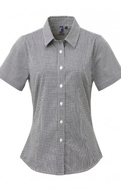 Ladies Gingham Short Sleeve Shirt