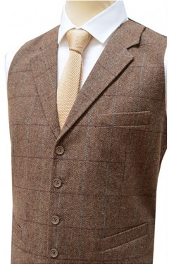 Collared Tailored Fit Wool Handle Waistcoat