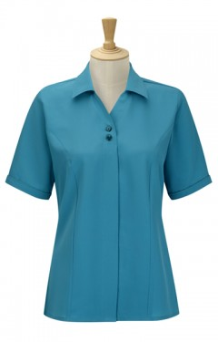 Short Sleeve 2 Button Blouse