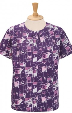 Short Sleeve Pleat Neck Blouse