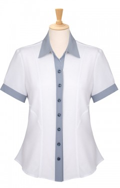 Ladies Contrast Trim Short Sleeve Blouse