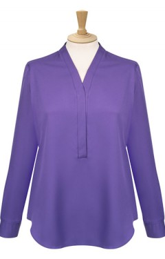 Long Sleeve V Neck Concealed Front Blouse