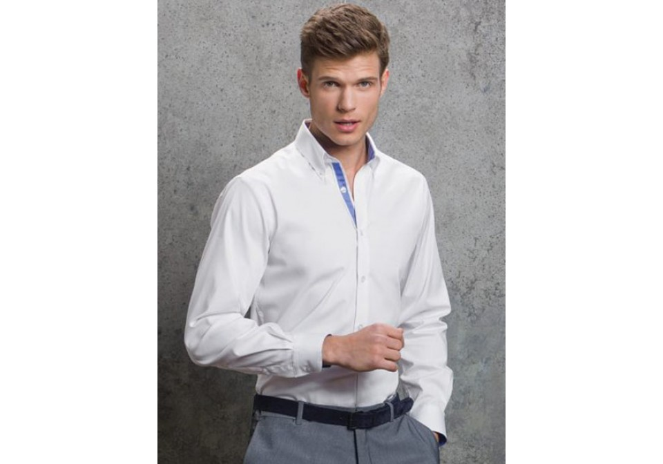 Mens Long Sleeve Contrast Oxford Shirt
