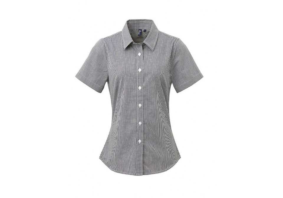 Ladies' Short Sleeve Microcheck Gingham Shirt