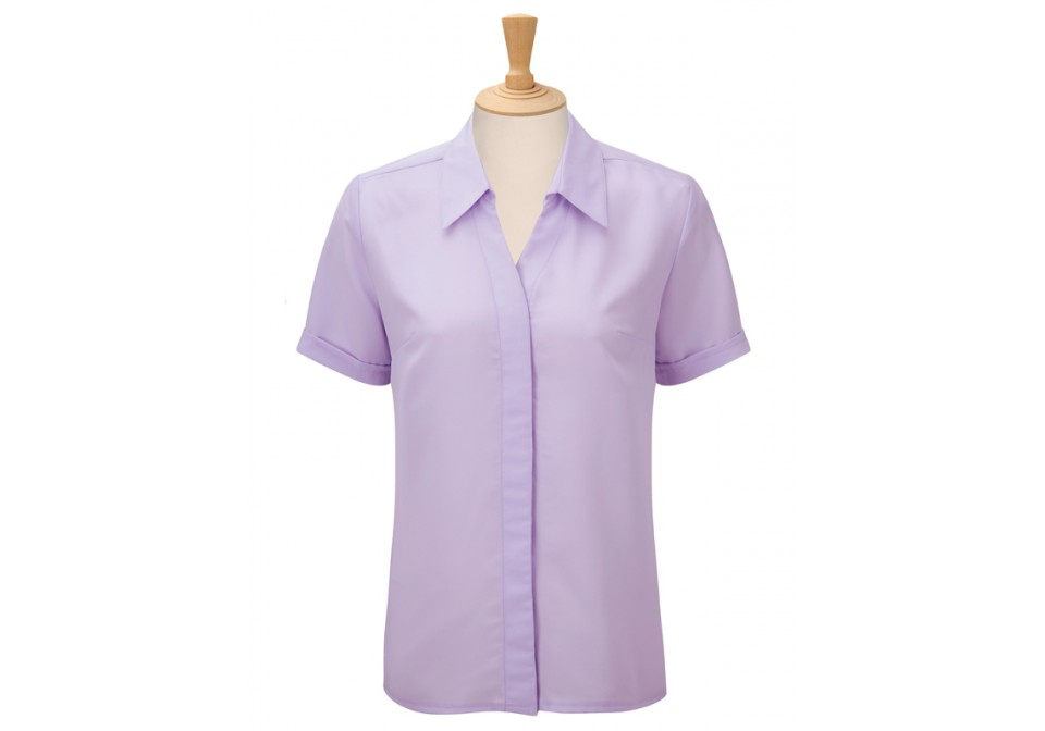 Short Sleeve Concealed Front Blouse
