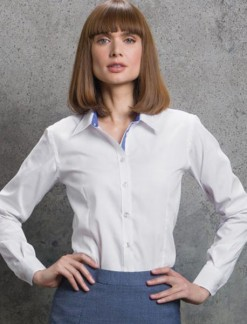 Ladies Long Sleeve Contrast Oxford Shirt