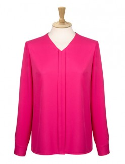 Long Sleeve Box Pleat Blouse