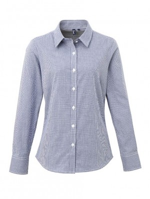 Ladies' Long Sleeve Microcheck Gingham Shirt