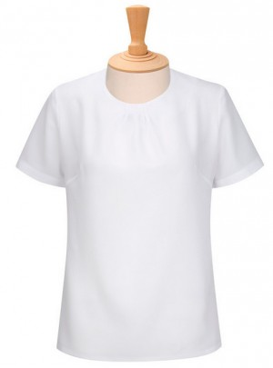 Ladies Pleat Neck Short Sleeve Blouse